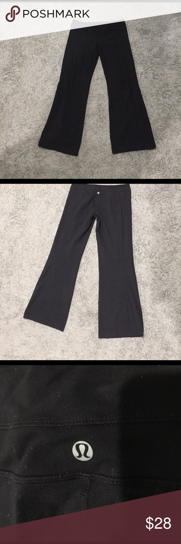 Lululemon black groove pants size 12 Black lululemons reposh! I lost weight and they don't fit me anymore ;) some piling, but otherwise in great used condition lululemon athletica Pants Track Pants & Joggers