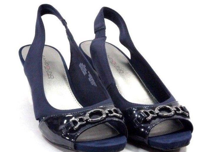 e9b384054ecf Bandolino Womens Heels Size 7 Navy Blue Open Peep Toe Slingbacks  Bandolino   Slingbacks
