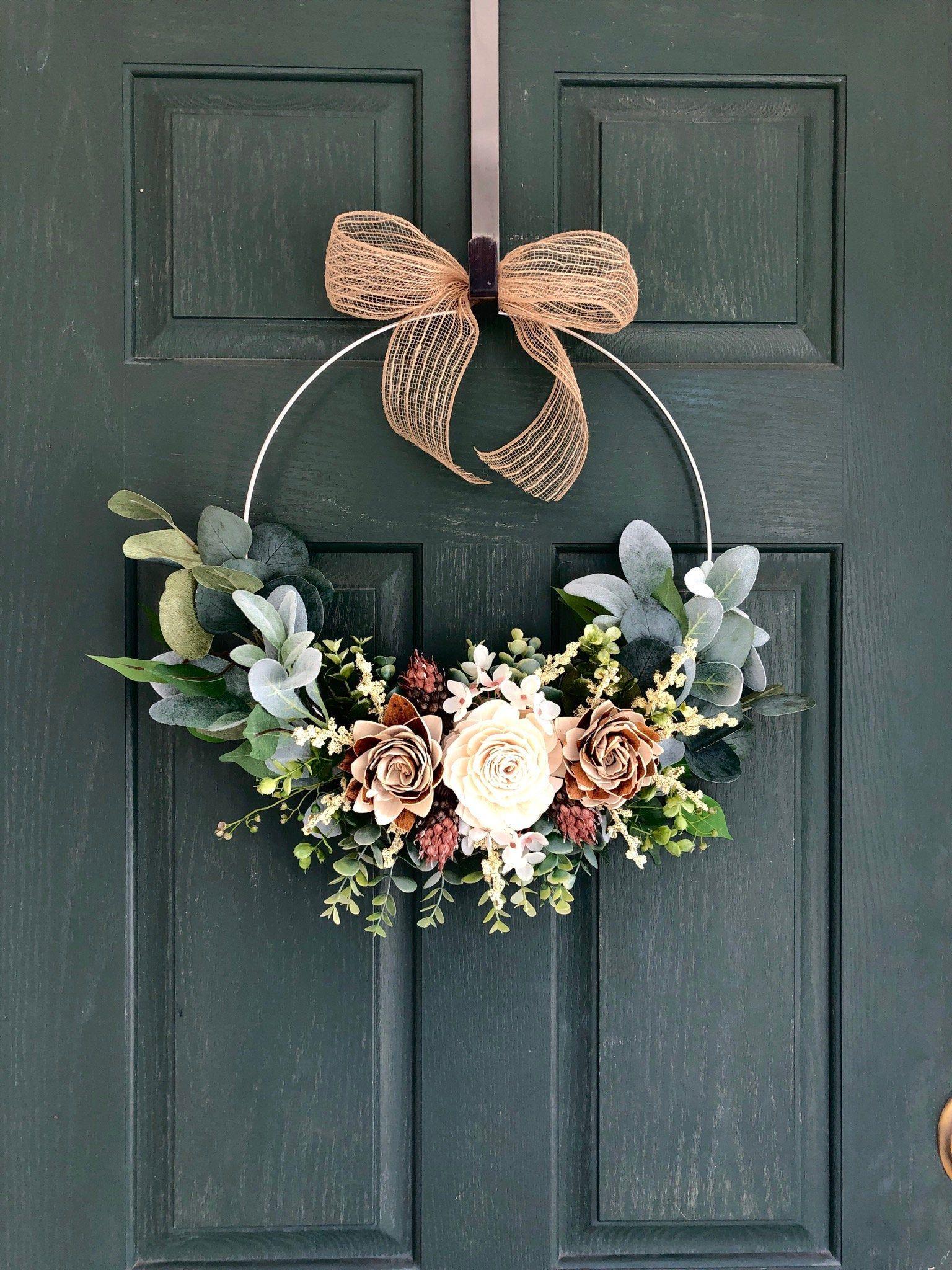 Summer Wreaths For Front Door Summer Wreath Fall Wreath Fall Wreaths For Front Door Modern Fall Hoop Wreath In 2020 Door Wreaths Diy Fall Wreaths Summer Wreath Diy