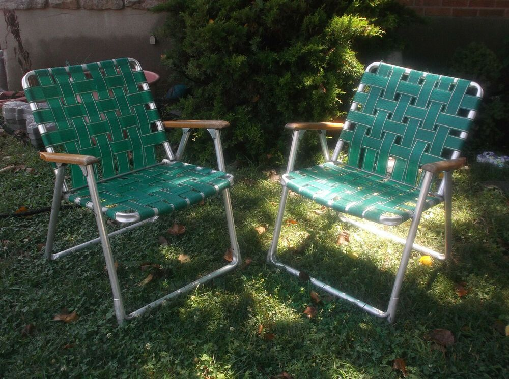Two Vintage Aluminum Folding Webbed Camping Chairs Wood