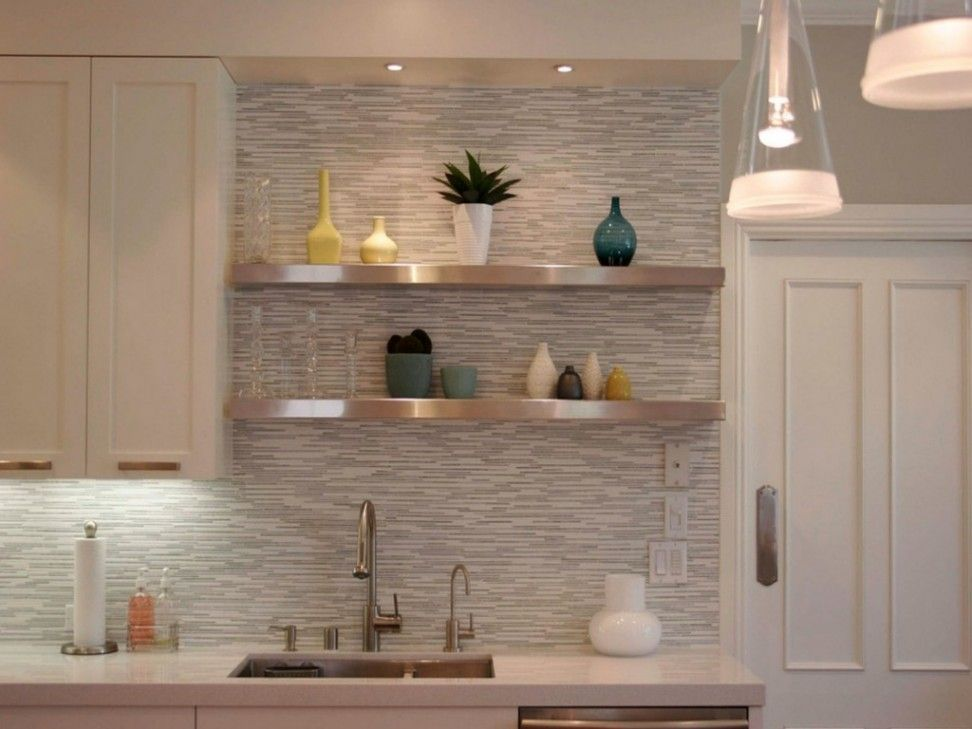 Stainless Steel Floating Shelf Featuring White Marble Countertop And Stain Wooden Kitchen Cupboard Plus Cabinet Storage