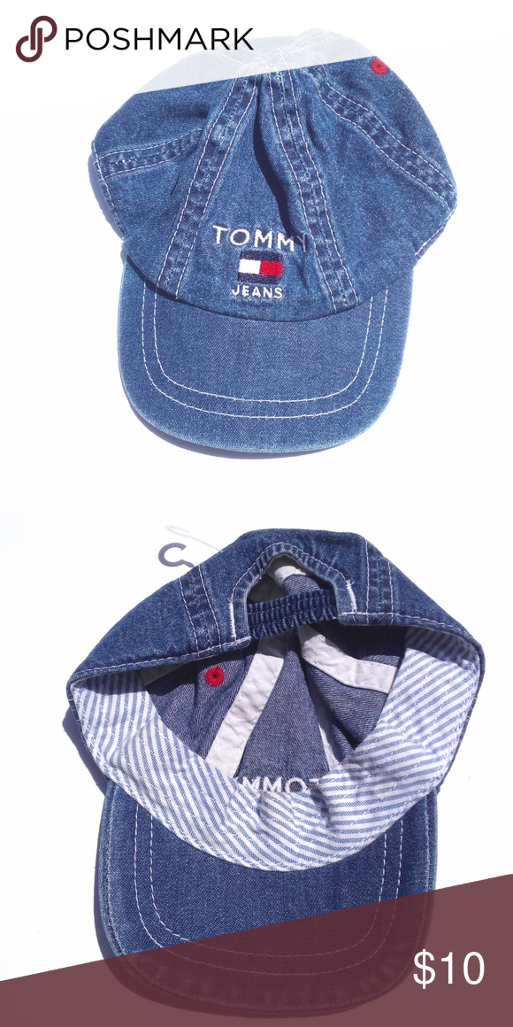 64bcf6a8820f TOMMY HILFIGER Infant Denim Baseball Cap Good used condition  wear as shown  in pics. Head circumference   16