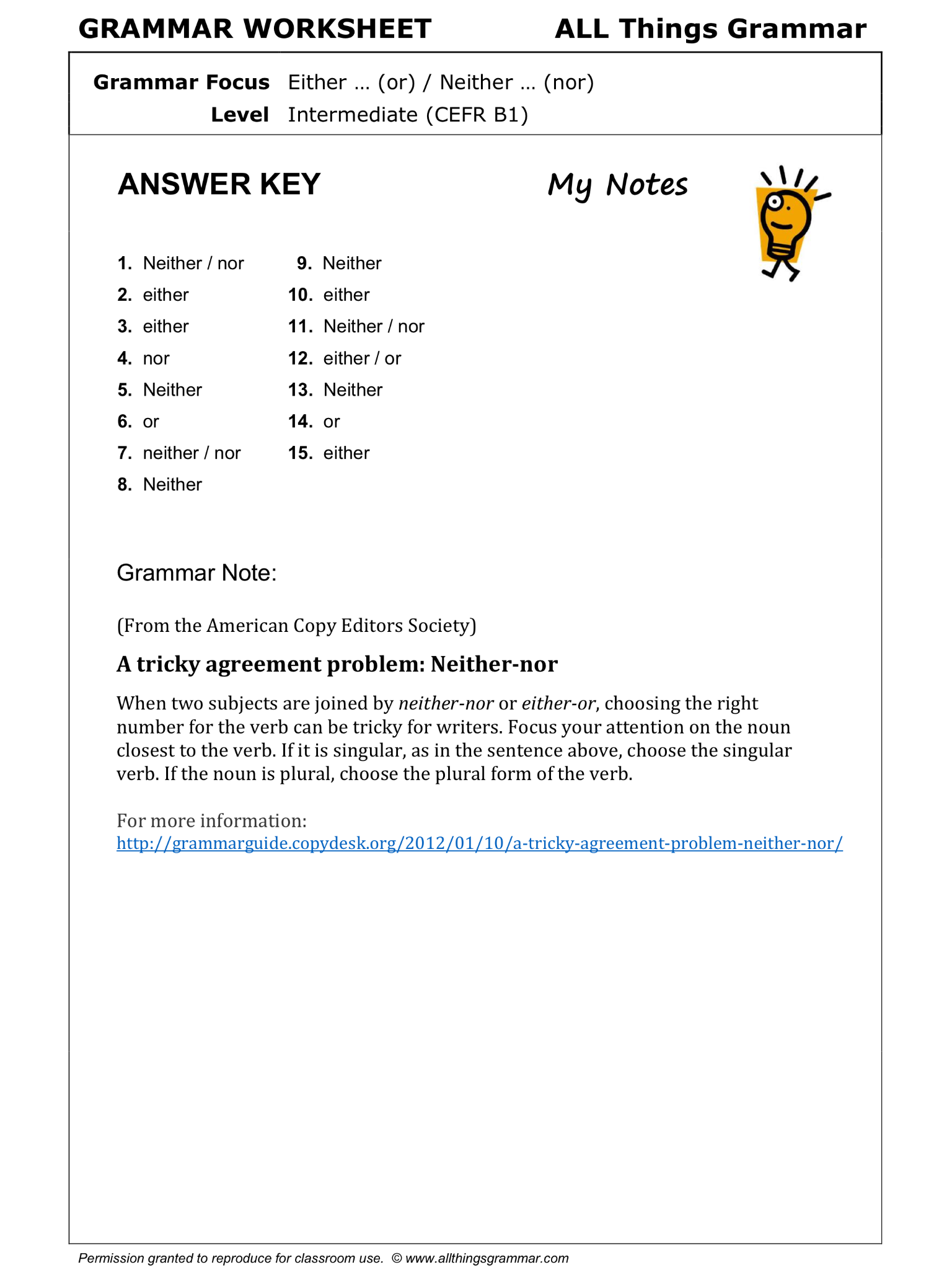 English Grammar Worksheet Either Or Neither Nor 22