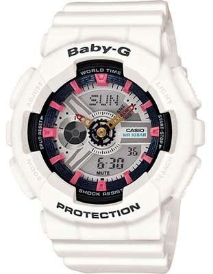 Casio Ladies Baby-G Analog-Digital - White - Black & Pink Accents - 3D Dial #lux...