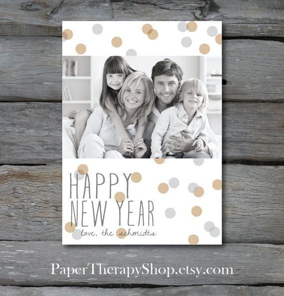 2015 Happy New Year Family Photo Wishes Card - Polka Dot, New Year Craft  #2015 #new #year #card