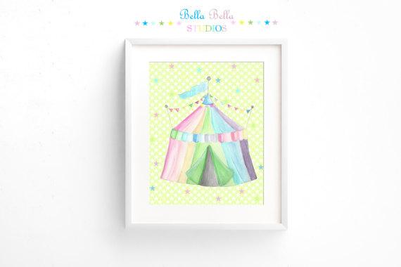 Printable Circus Tent Print 8x10 by BellaBellaStudios on Etsy