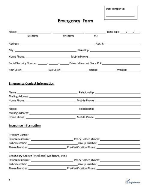 Emergency Form  Contact  Medical History And Free Printable