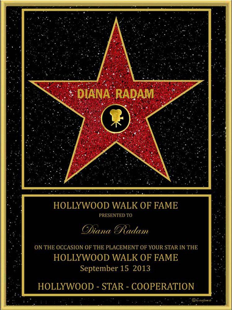 Original Walk of Fame Hollywoodstern Urkunde von http://www.starfame.de Nur hier gibt es das Original.