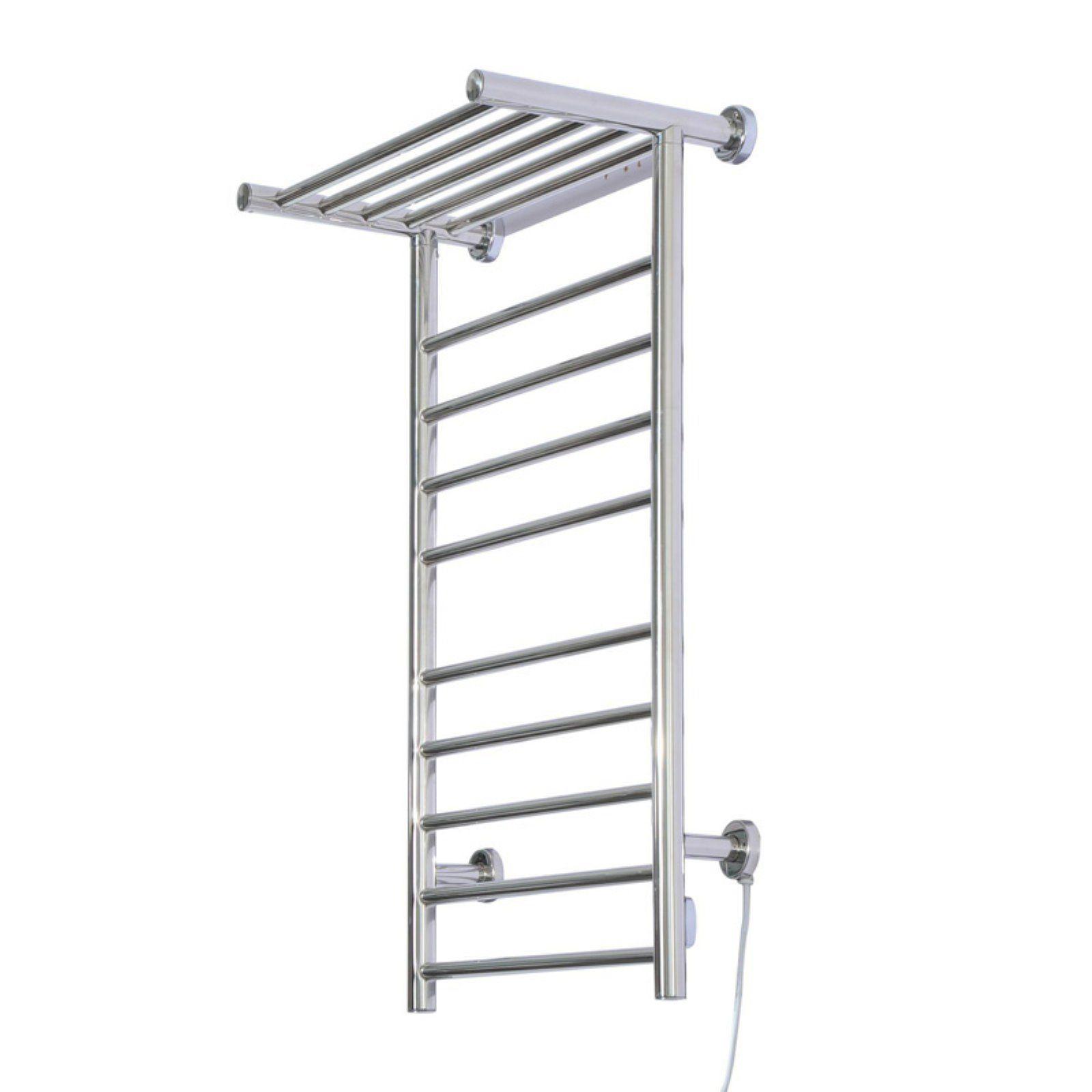 Wall Mounted Heated Towel Warmer Rack with Shelf
