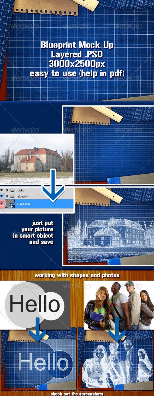 Free psd blueprint mockup mockup ui ux and typography malvernweather Choice Image