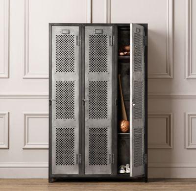 Vintage Locker 3 Door Perforated Cabinet | Cabinets | Restoration Hardware  Baby U0026 Child