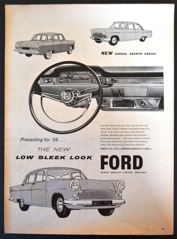 1959 Ford Consul Zephyr Zodiac Car Print Ad Rare International Ad Car Print Ads Car Advertising Ford Motor