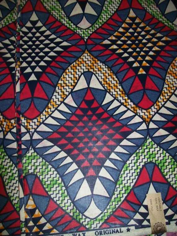 Wax print African fabric per yard red white by tambocollection, $7.00