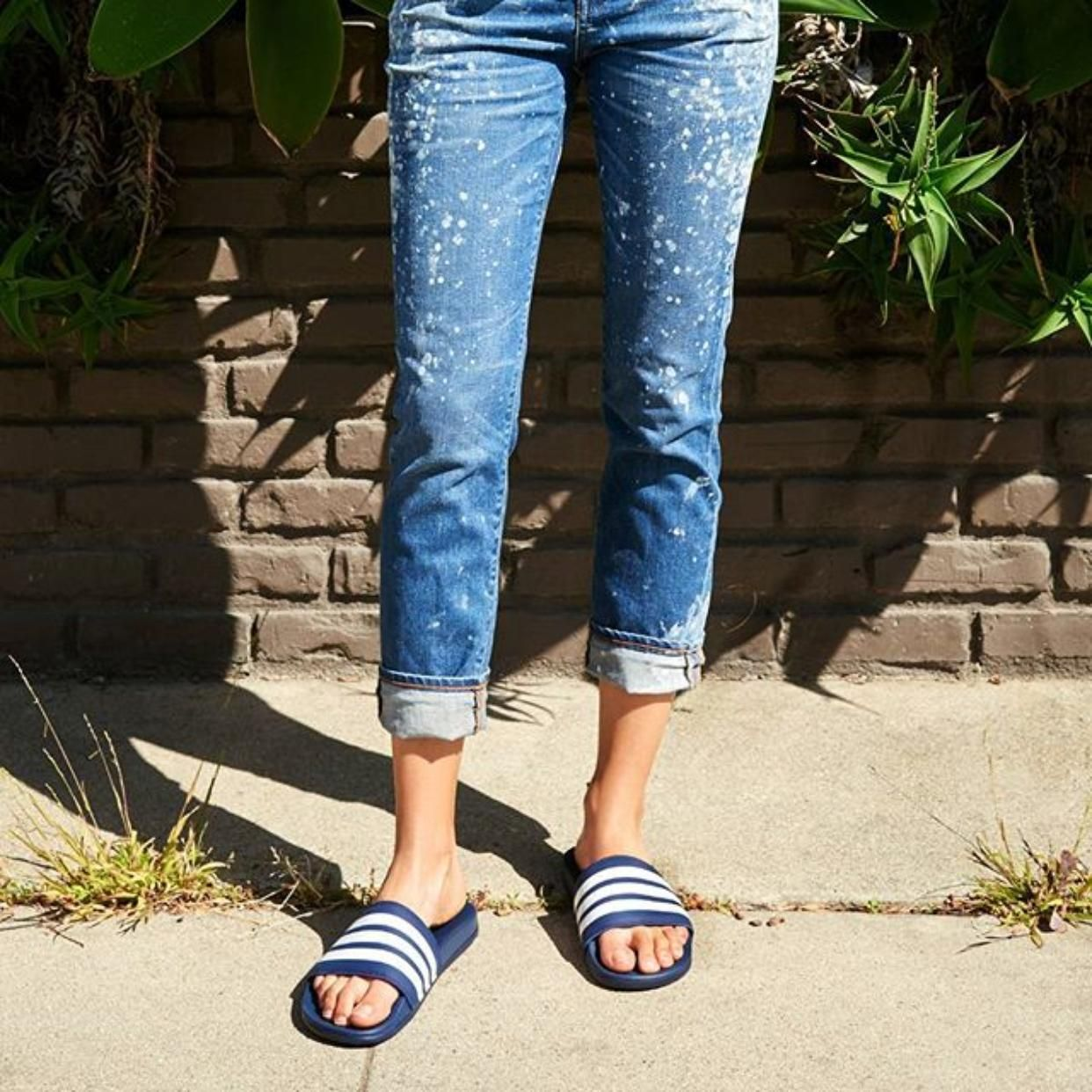 adidas Adilette Cloudfoam Ultra Stripes Slide Sandal  69ac1863ea