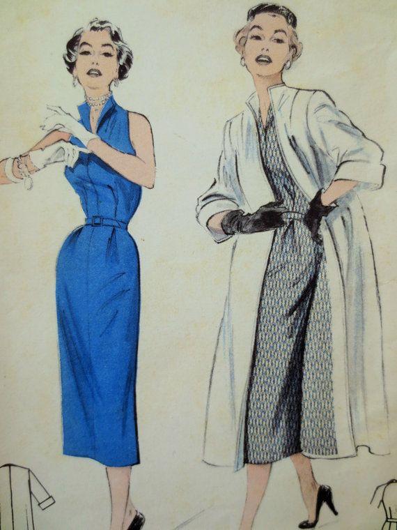 vintage butterick 6529 sewing pattern sheath dress 1950s