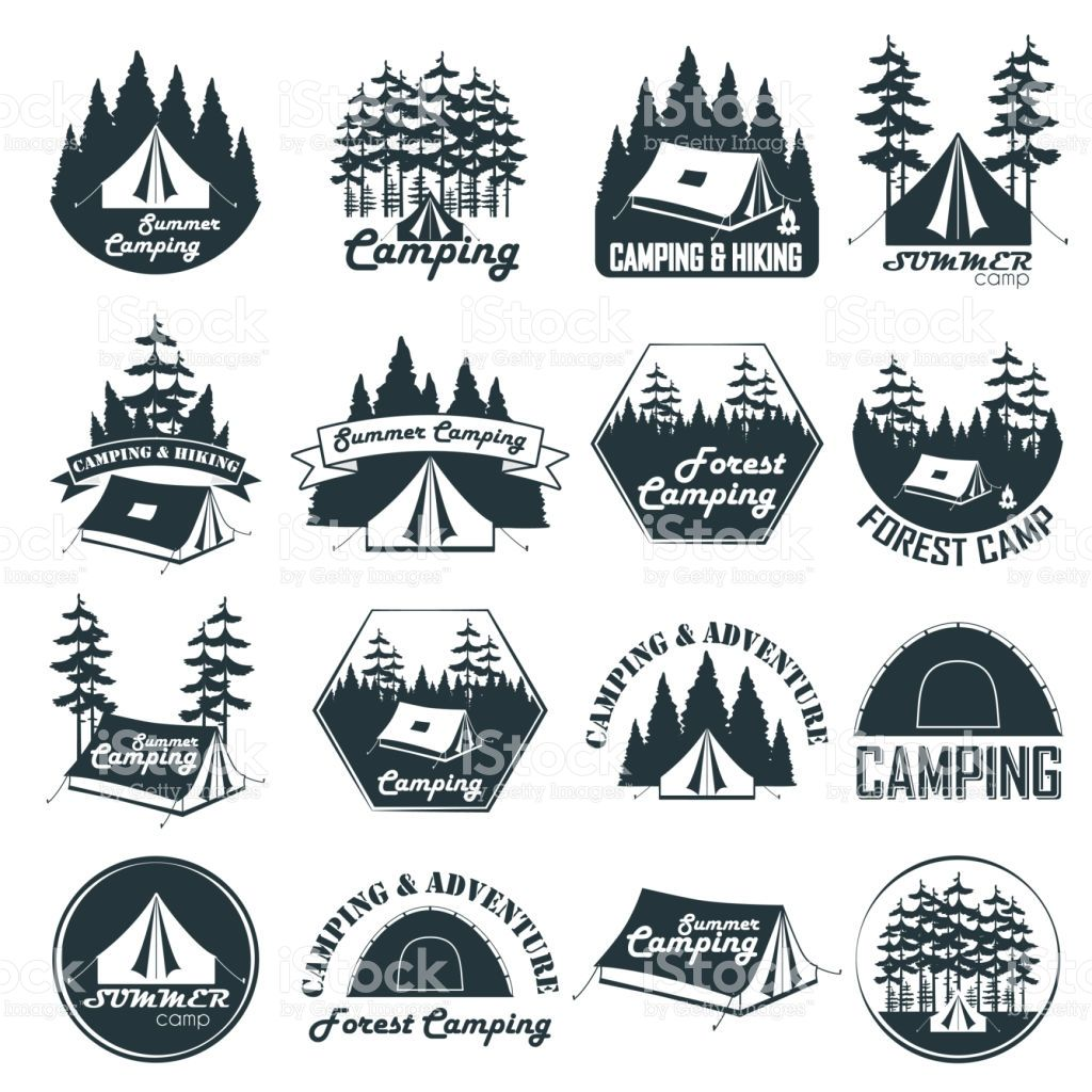 Set Of Vintage Camping Emblems, Logos And Badges. Camp