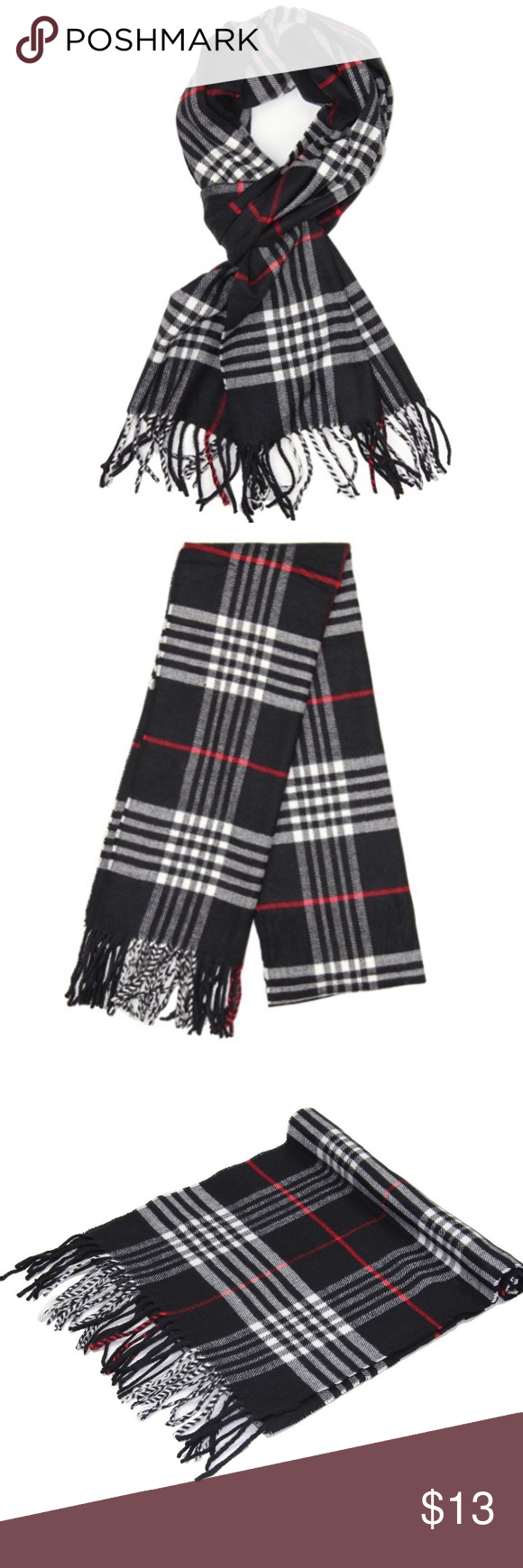 """Classic Black Cashmere Feel Winter Scarf Classic Black Cashmere Feel Winter Scarf 100% Viscose.  Rectangular Size: APPROX. 12""""W x 72""""L with fringes, 3"""" fringes at both ends. Unisex designs, perfect gift for men or womenPatterned in rich, classic scottish plaid, checked and tartan design DRY CLEAN or HAND WASH, squeeze gently and do NOT twist Accessories Scarves & Wraps"""