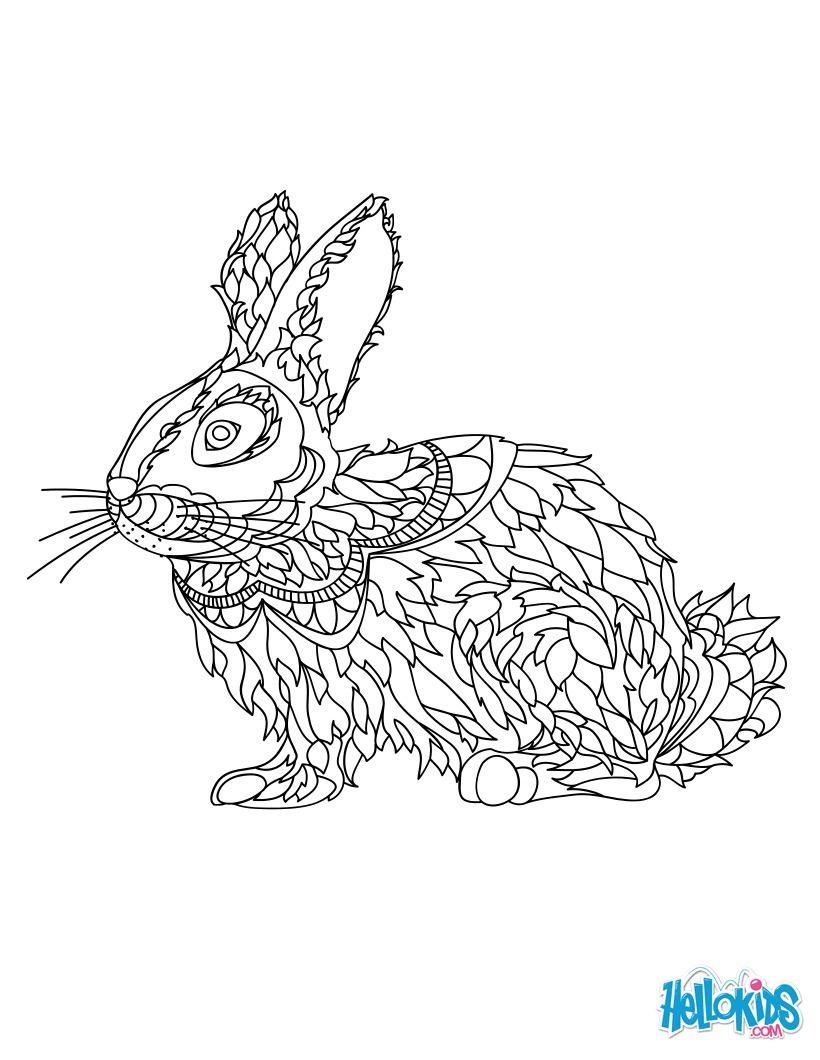 Cute rabbit mandala coloring page. More original mandala coloring ...