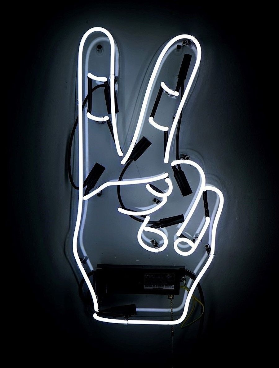 Neon Peace Sign Signs Aesthetic