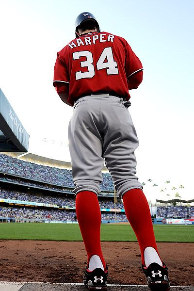 Bryce Harper The Only Player Besides Chipper That I Love To See In The Stirrup Socks Holy Cow He Bryce Harper Washington Nationals Baseball Baseball Players