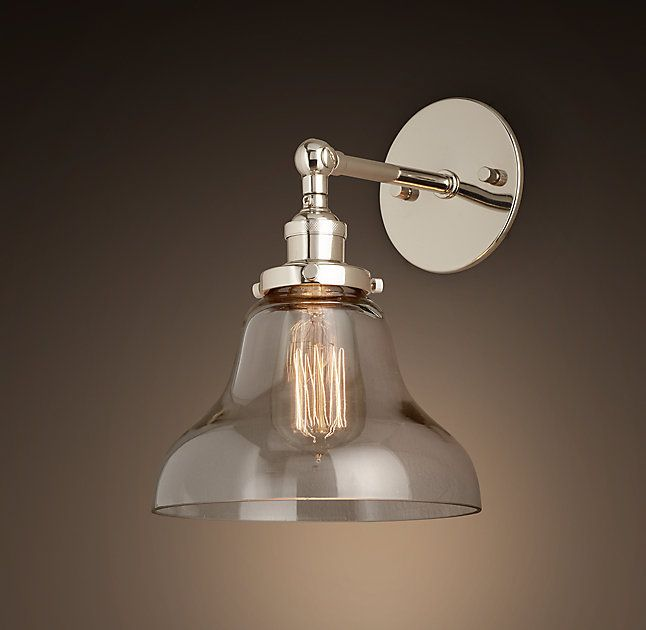 20th C. Factory Filament Clear Glass Boulangerie Sconce 40w $104