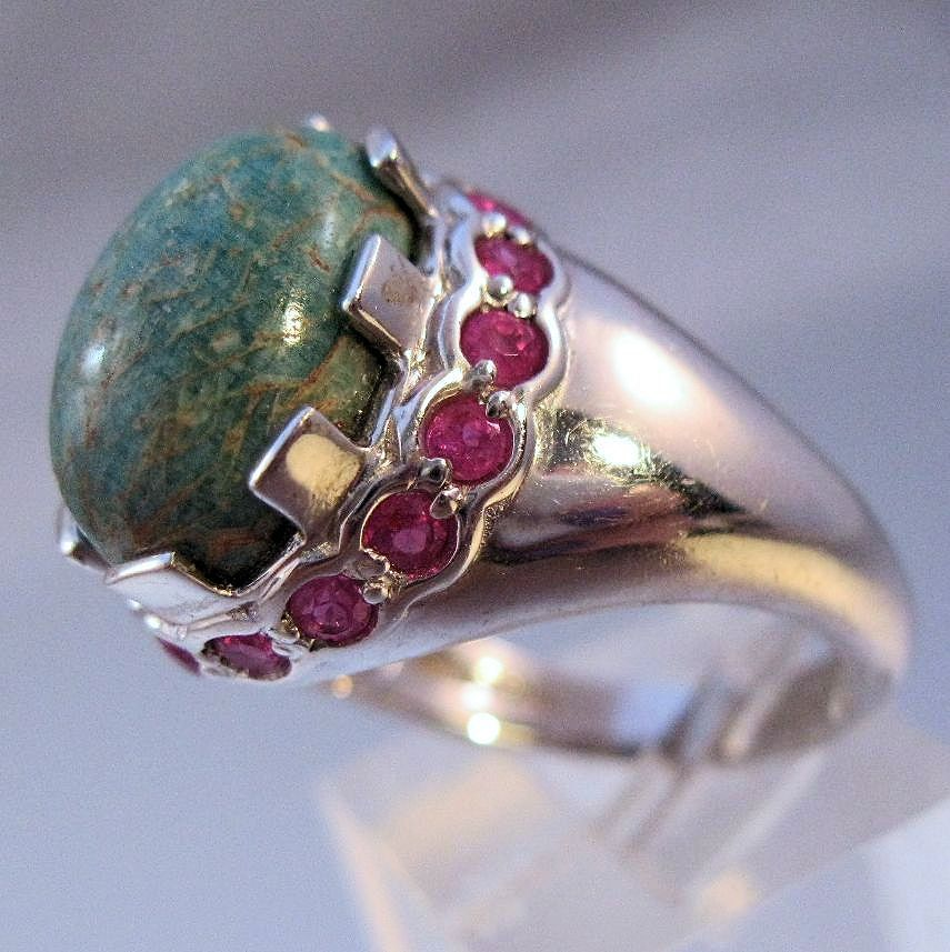 $129.00 Vintage Turquoise & Ruby Sterling Silver Ring Designer TC or CT Size 7 Jewelry Jewellery FREE Shipping by BrightEyesTreasures on Etsy