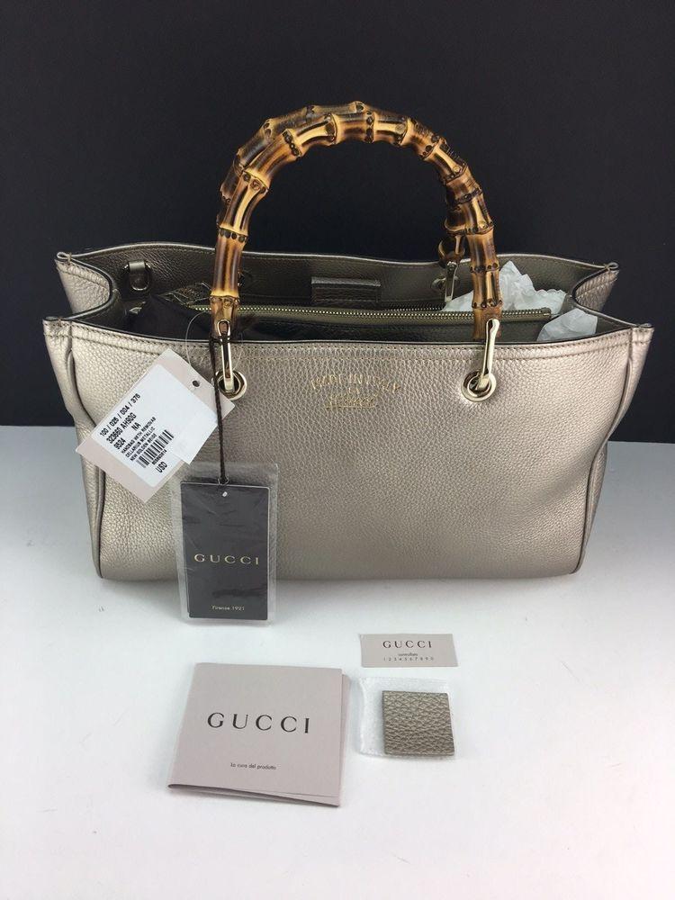 New Gucci Bamboo Crossbody Gold Leather Satchel Handbag NWT #Gucci ...
