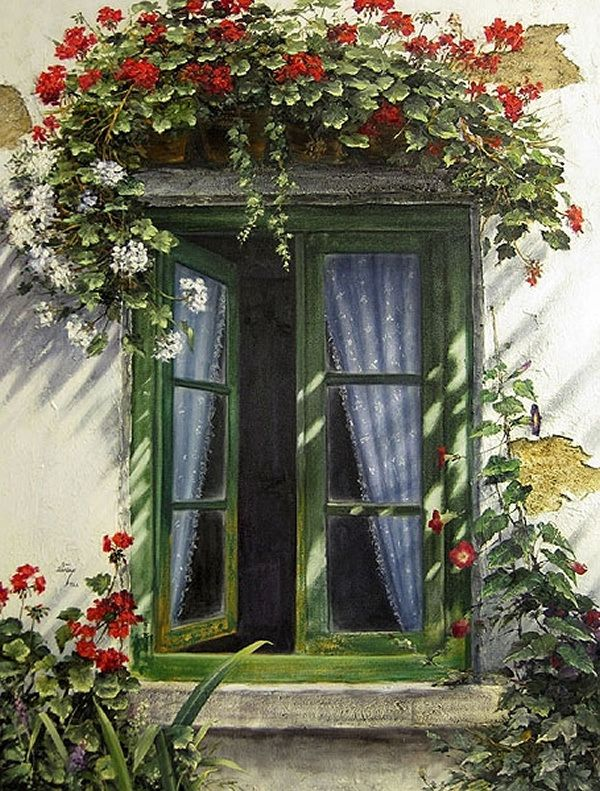 Window & flowers - unknown painter