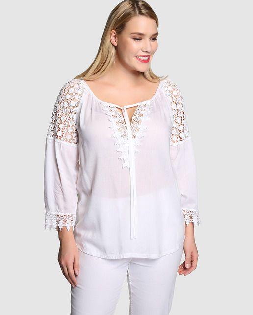 Resultado De Imagen Para Blusas Tallas Grandes Lace Blouse Shirt Outfit Tunic Tops