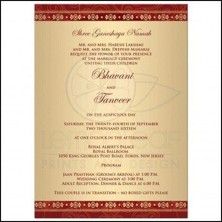 Sample Hindu Wedding Invitation Wording #WeddingReception - best of sample invitation letter for awards ceremony