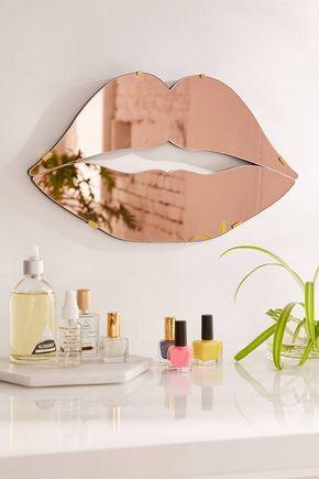 Lips Mirror Roségold schlafzimmer, Gold schlafzimmer