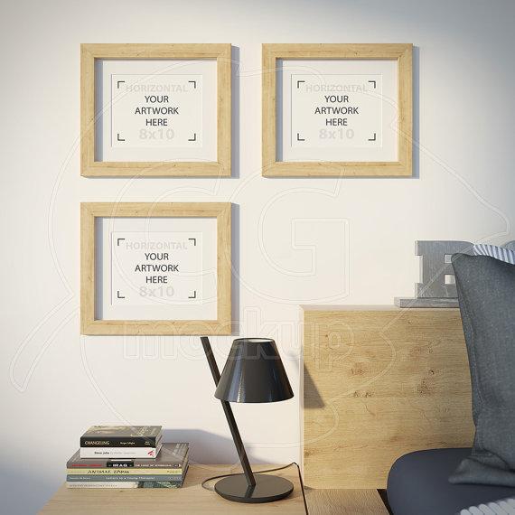 8x10 mockup, Frame product mockup, Set of three frames, Empty frame ...