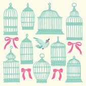 Set with vintage bird cages. — Vetorial Stock