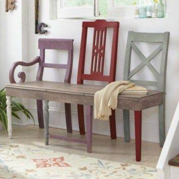 Diy recycler ses vieilles chaises en bancs d co vieilles chaises banc jardin et deco salon - Diy deco salon ...