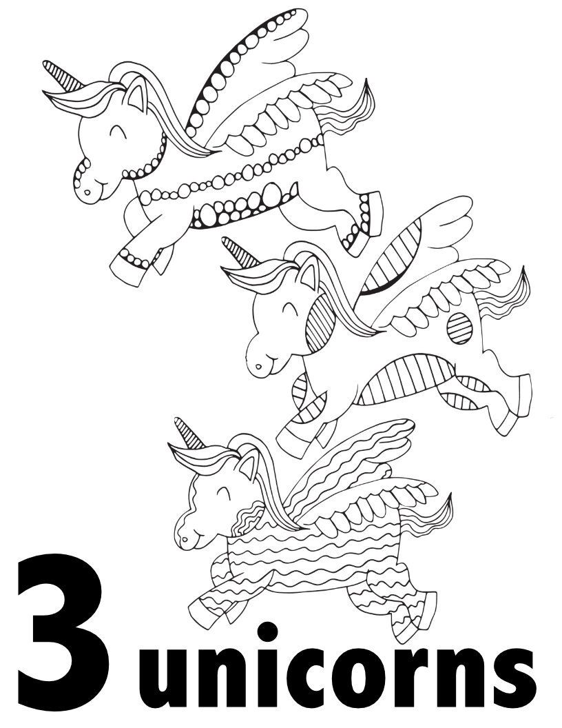 UNICORN NUMBERS 1-10 Free Printable Pages For Preschool ...