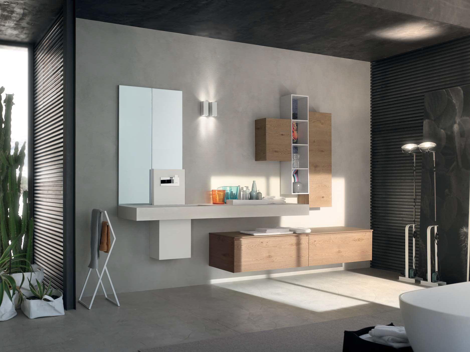 Oak Bathroom Cabinet / Vanity Unit LA FENICE   COMPOSITION 15 La Fenice  Collection By Arcom