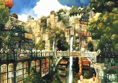Solarpunk Cityscape Anime City Fantasy City Anime Scenery