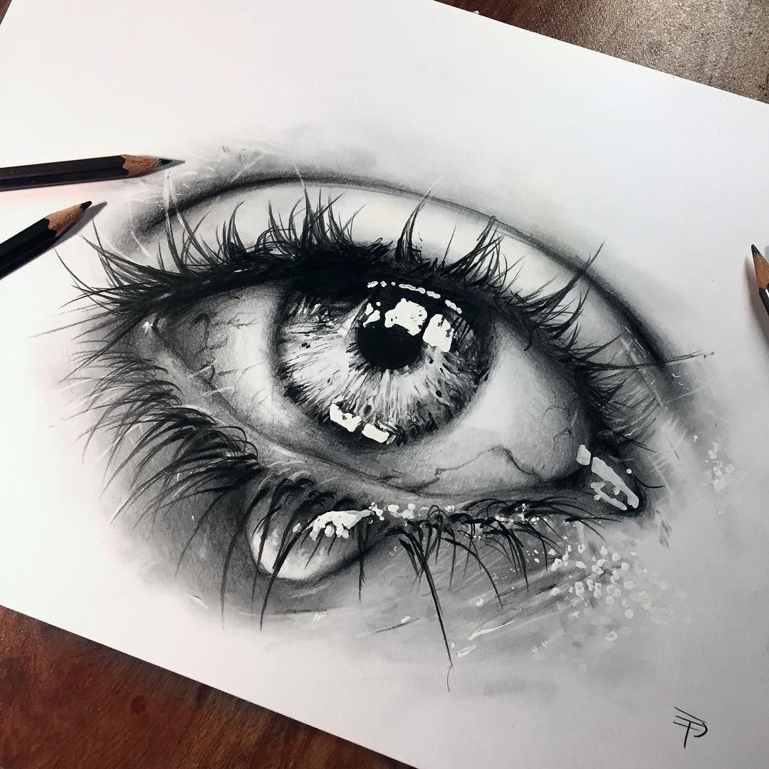 New hyper realistic crying eye drawing realized with just blackwing pencils just another test for improve my technique what do you think about it ☺️