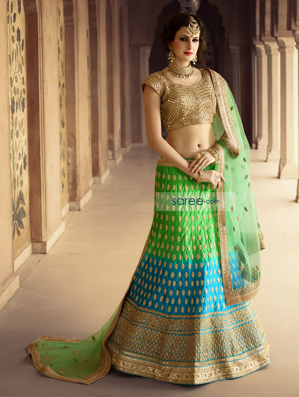 Beautiful green Silk Embroidered #LehengaCholi...
