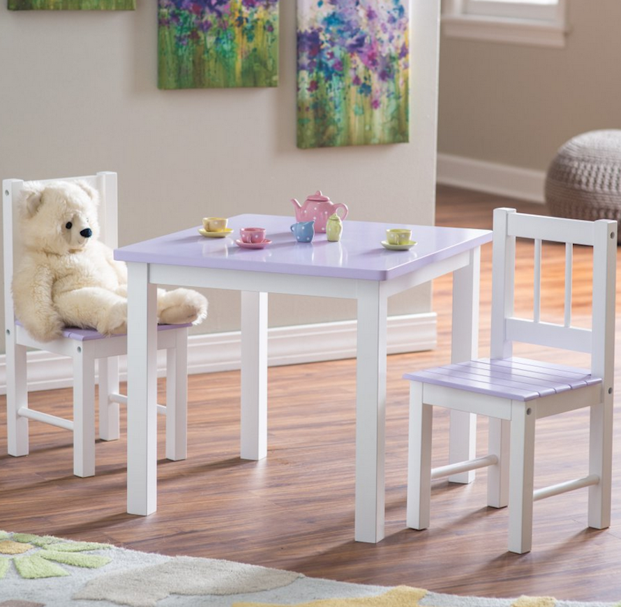 Kids Small Table and Chair Set Pink and White Table