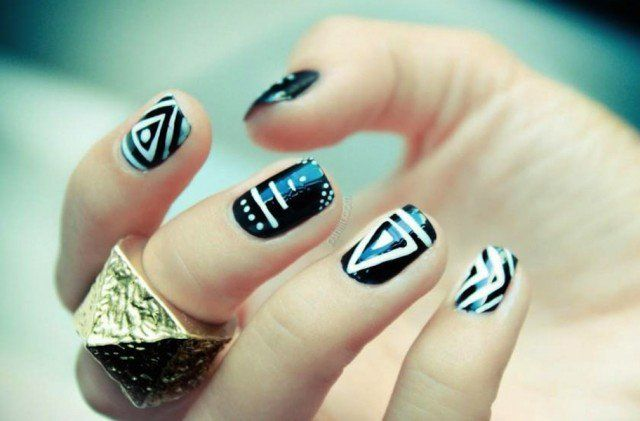 - Trendy And Funky Tribal Nail Designs