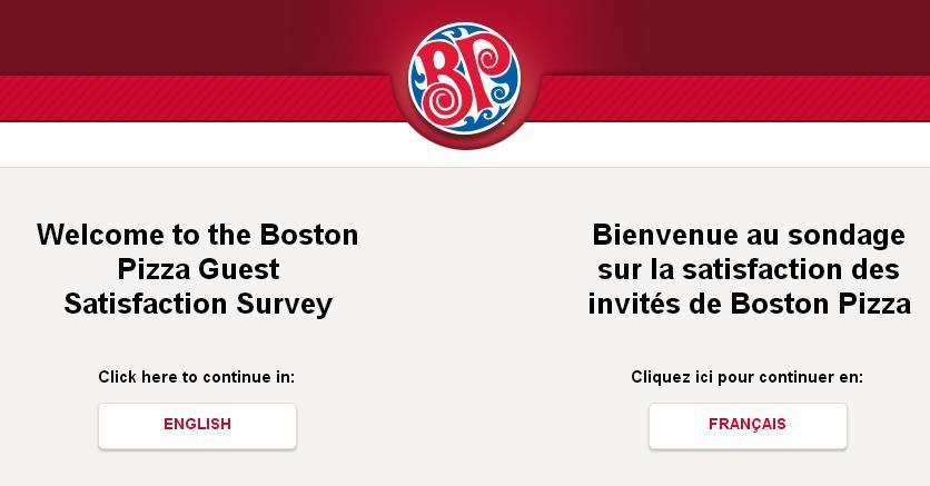 Tell boston pizza feedback in customer survey win 200