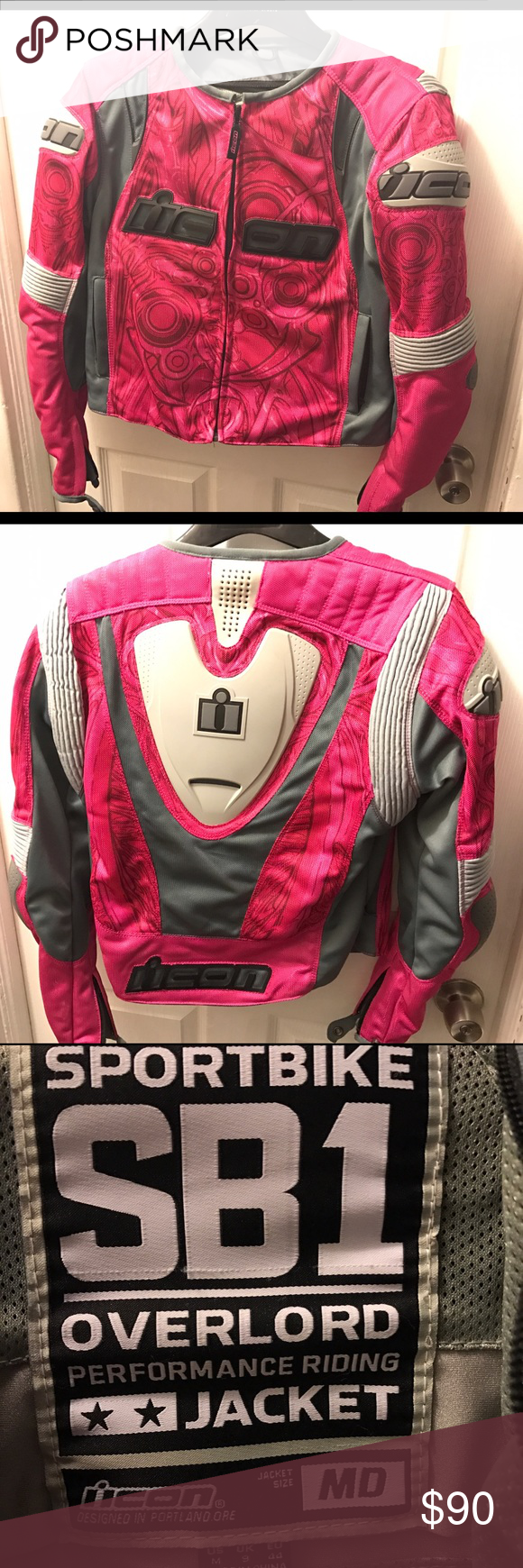 Pink Icon Womens Motorcycle Jacket Like new! Only used