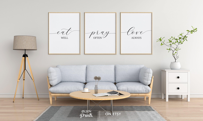 Eat Pray Love Printset Of 3 Printablekitchen Wall Artdining Etsy Wall Decor Bedroom Wall Printables Wall Art Living Room