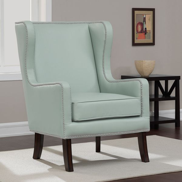 Oversized Aqua Bonded Leather Wing Chair  Overstock Shopping Mesmerizing Wing Chairs For Living Room Inspiration Design
