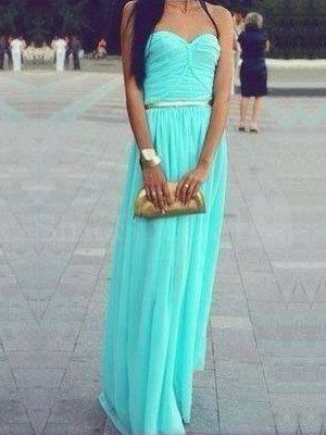 Fashion Trendy Turqoise A-line Sweetheart Neckline Floor Length Prom Dress/Formal Dresses