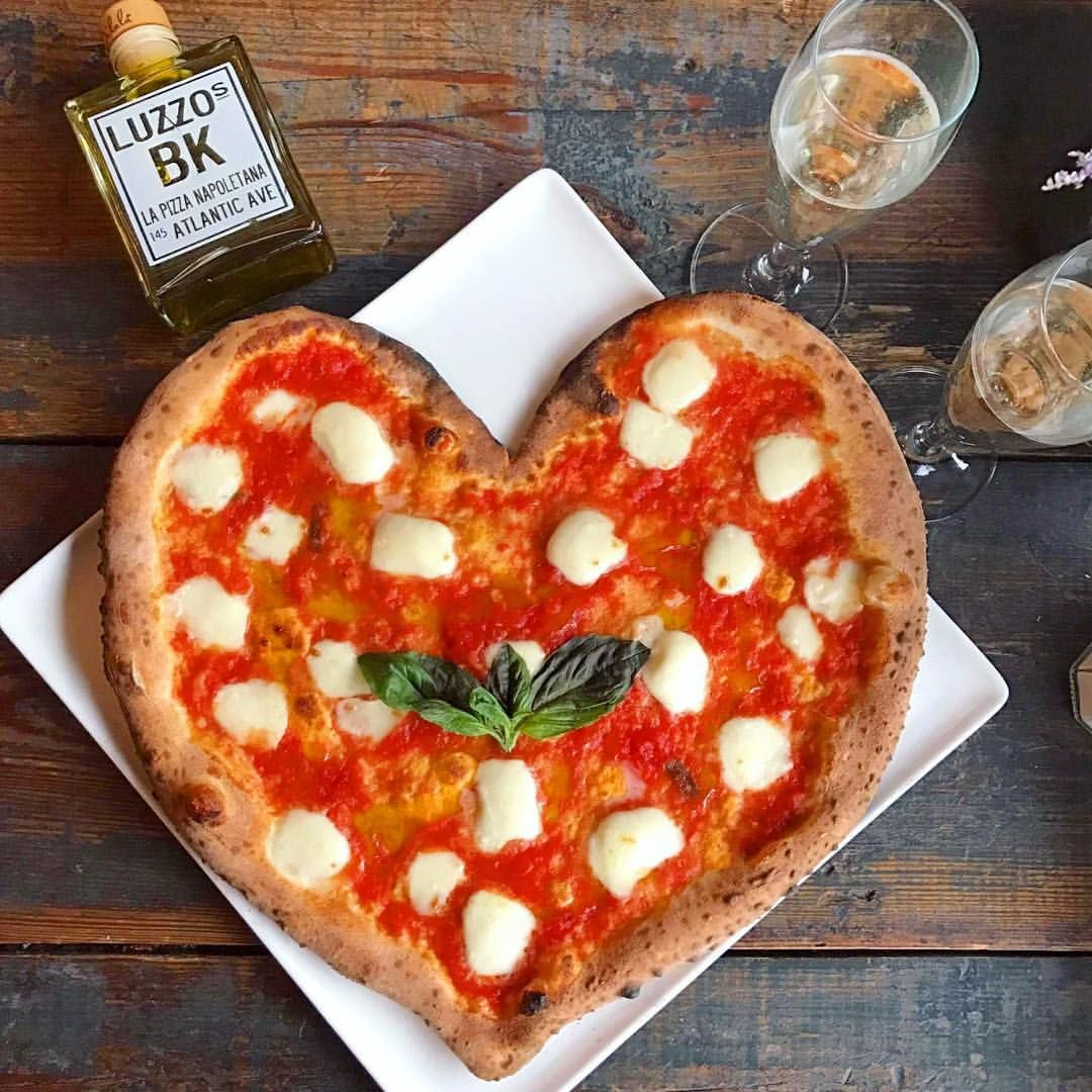 Celebrate San Valentino With Your Special Someone At Luzzo S And Get This Heart Shaped Pizza With Complimentary Glass Prosecco Heart Shaped Pizza Food Nyc Food