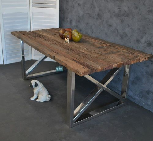 Large Industrial Rustic Recycled Timber Steel Base Refectory