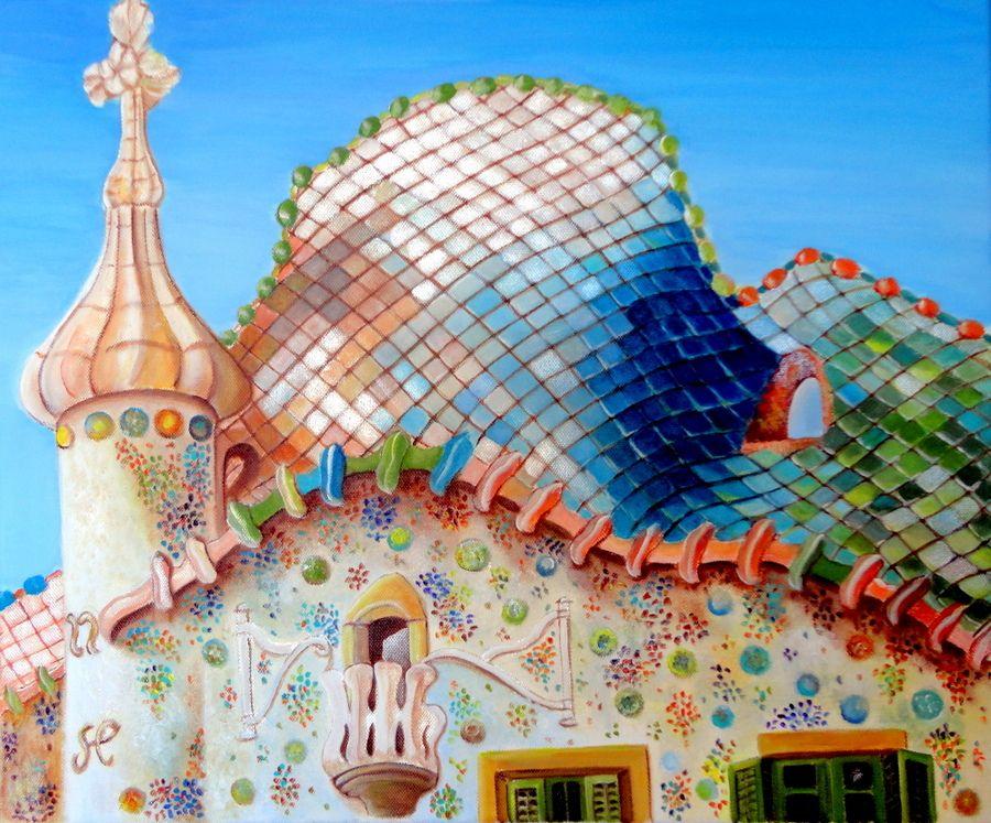 Casa batll gaud pintura acr lica serie edificios - Casas modernistas barcelona ...