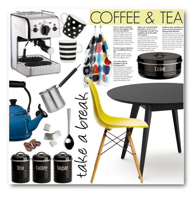 """""""Take a break"""" by stylemoi-offical on Polyvore featuring interior, interiors, interior design, home, home decor, interior decorating, Dualit, Le Creuset, BergHOFF and Typhoon"""